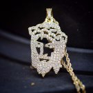Iced Out Hip Hop Gold Jesus Piece Pendant And Chain Necklace
