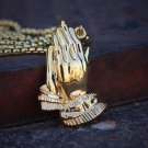 18k Gold Pvp Plated Prayer Hands Jesus Piece Necklace
