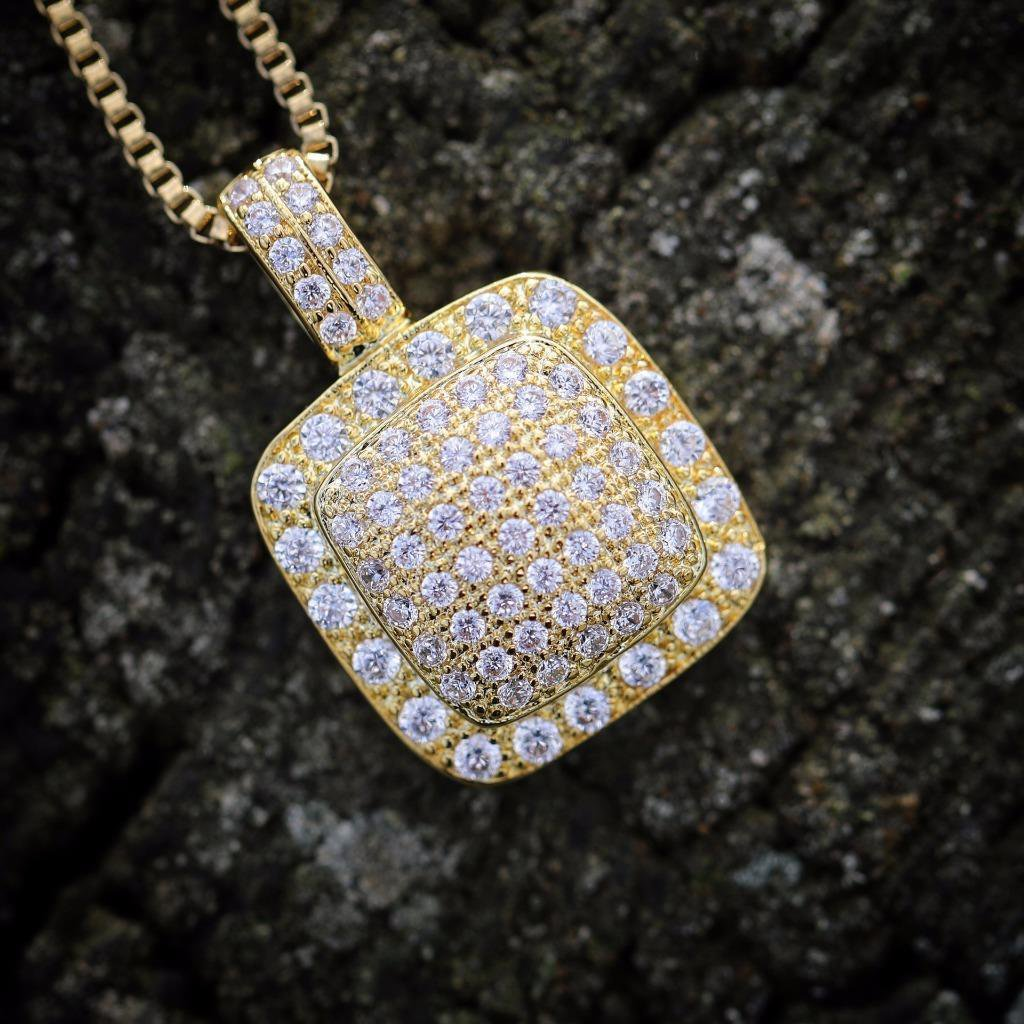 Iced out 14k gold plated square lab diamond necklace