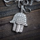 Iced Out White Gold Hamsa Hand Pendant With Chain Hip Hop Jewelry