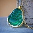 Green Jade Buddha Pendant Necklace Set 18k Gold Plated Hip Hop Jewelry
