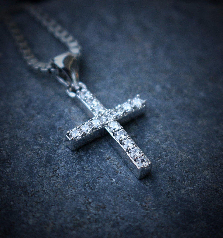 White Gold Mini Lab Diamond Cross Pendant With 24 Inch Box Chain