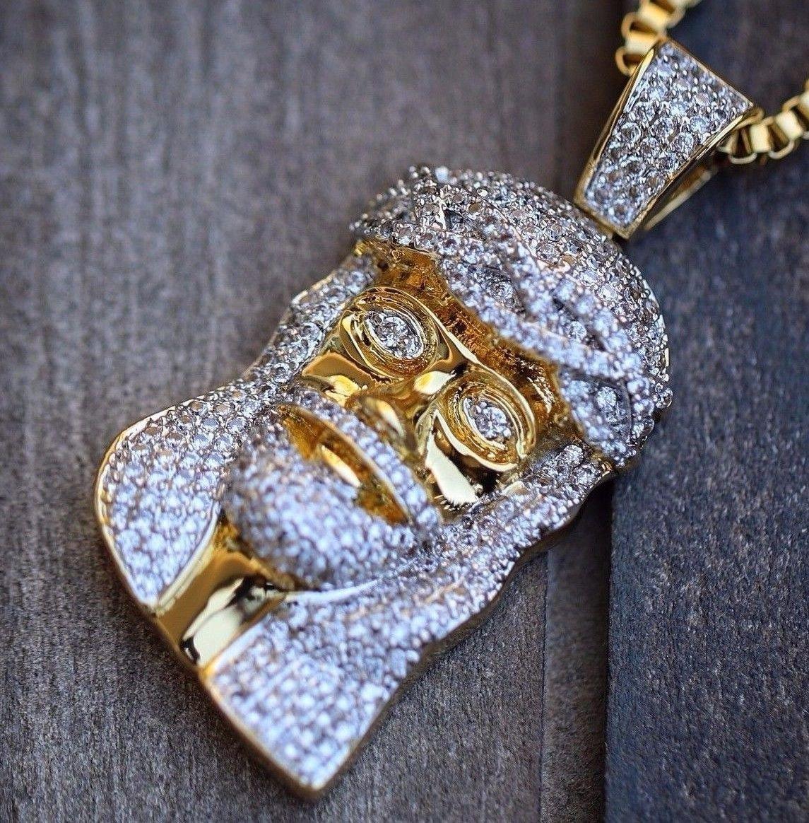 18k Gold Plated Iced Out Lab Diamond Mini Hip Hop Jesus Piece Necklace