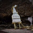 Mini Lab Simulated Diamond Hip Hop Gold Plug Necklace