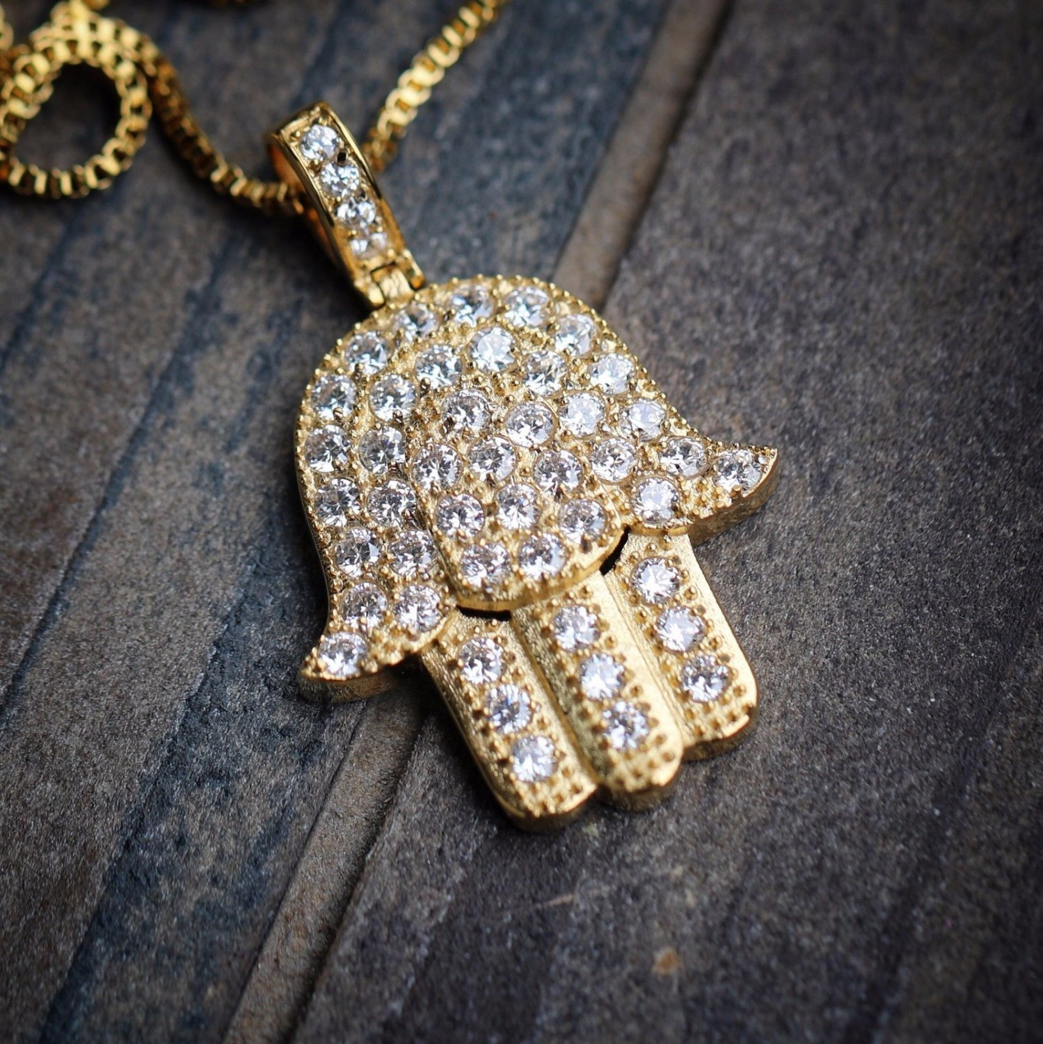 Gold 316 Stainless Steel Hamsa Hand Pendant Necklace