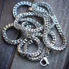Mens White Gold 316 Stainless Steel Box Franco Chain Necklace 2.5mm-3mm Italy