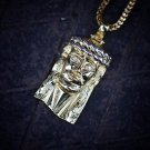 Men's Hip Hop Yellow Gold Jesus Piece With Franco Chain Necklace
