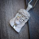 Micro Lab Diamond Jesus Piece Pendant Stainless Steel Iced Out
