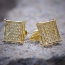 Men's Small Gold Square Shaped 6 Row Stud Earrings