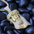 MINI MICRO JESUS PIECE FACE CHARM PENDANT GOLD PLATED NECKLACE HIP HOP CHAIN