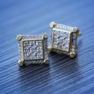 Mens  Hip Hop Gold Square Stud Earrings