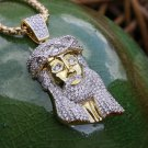 Lab Simulated Diamond Yellow Gold And Rhodium Jesus Piece Pendant Necklace