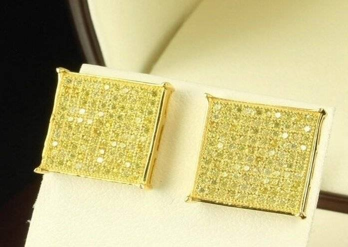 Square Flat Screen 14K Gold Canary Yellow Hip Hop Iced Out Stud Earrings