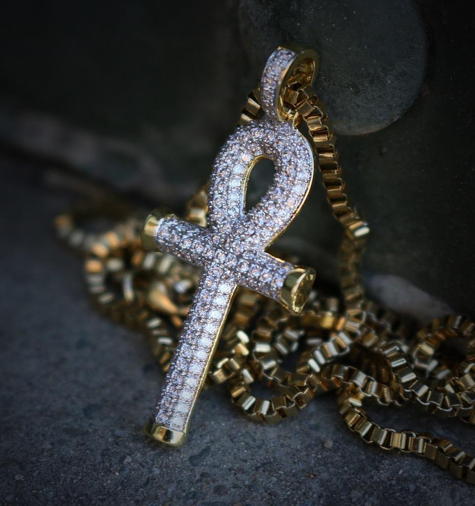 Hip Hop Iced Out 14k Gold Ankh Cross Pendant Necklace
