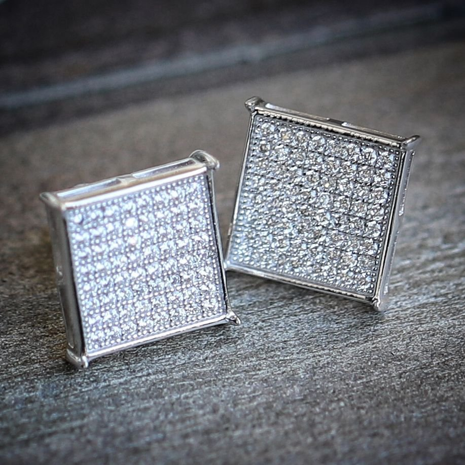 ICY PURE STERLING SILVER (925) SQUARE MENS EARRINGS WITH SCREW BACKS 10MM