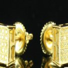 Square Yellow Gold Lemonade Canary Yellow Stud Micro Pave Hip Hop Earrings