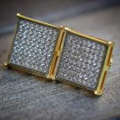 Mens Square Earrings 14k Yellow Gold Plated Screw Back Simulated Stones 14 MM