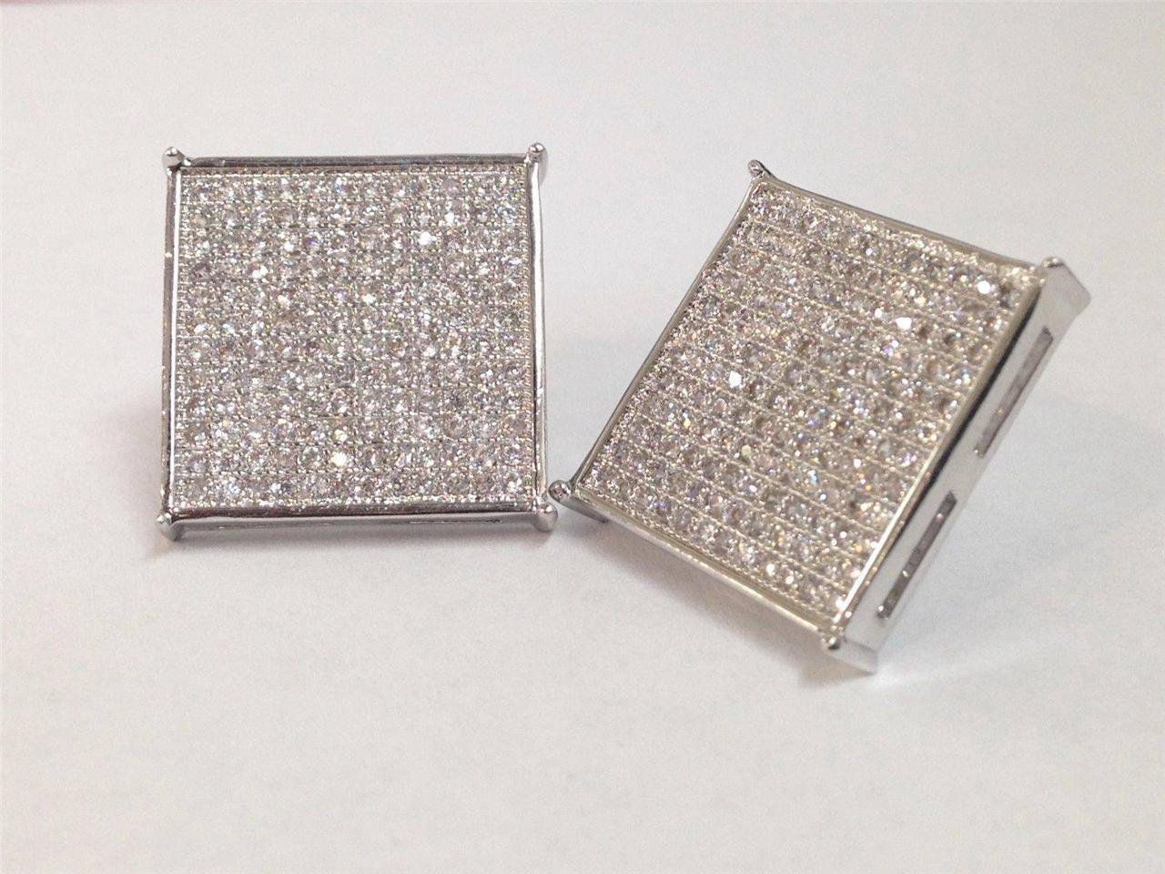 MEN 925 STERLING SILVER SQUARE 16MM LAB DIAMOND ICED OUT BLING STUD EARRING