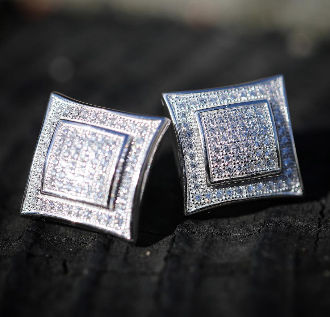 MEN 925 STERLING SILVER SQUARE 15MM LAB DIAMOND ICED SCREW BACK STUD EARRING