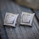 Solid White Gold Square Micro Pave Designer Earrings With Screw On Backs SZ 15MM