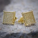 Canary Yellow Lab Simulated Diamond 14K Gold Square Sterling Silver Stud Earring