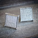 MENS HIP HOP WHITE GOLD SQUARE BLOCK PRONG STYLE STUD EARRINGS PAVE SZ10MM
