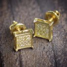 Mens Small Gold Earrings Square Shaped Iced Out Canary High Quality