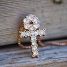 Mini Iced Out Princess Cut Lab Diamond Rose Gold Egyptian Ankh Cross Necklace