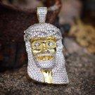 MENS ICED OUT LAB DIAMOND HIP HOP JESUS PIECE PENDANT