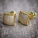 Gold Iced Out Lab Diamond Hip Hop Stud Earrings