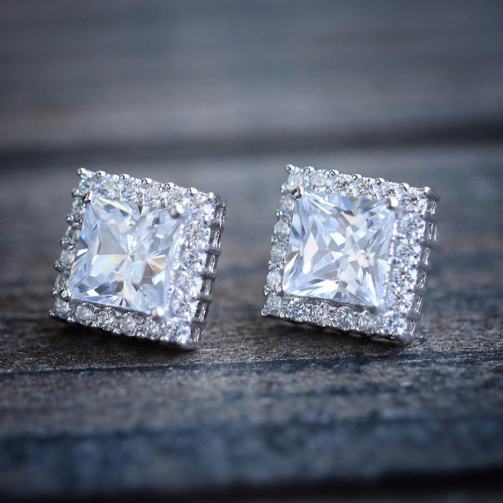 Square White Gold Lab Diamond Stud Earrings