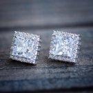 Square White Gold Lab Diamond Stud Earrings