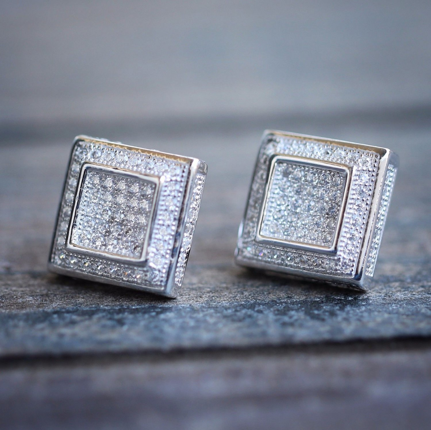 Micro pave square cz stone white gold bling bling hip hop earrings