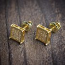 Gold Square Hip Hop Mens Stud Earrings