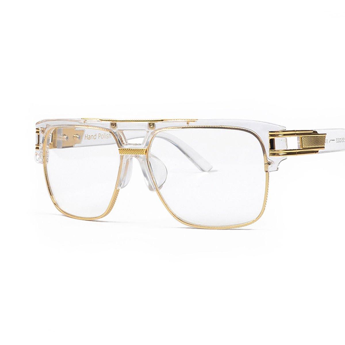Men's Gold Clear Lens Hip Hop Paid In Full Large Frame Glasses