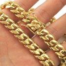 Men Cuban Miami Link Chain Set Stainless Steel 11mm 14k Gold