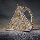 14k Yellow Gold Egyptian Eye Pyramid Pendant Necklace