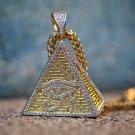 Men's Hip Hip Gold Egyptian Pyramid Eye Pendant With Franco Chain