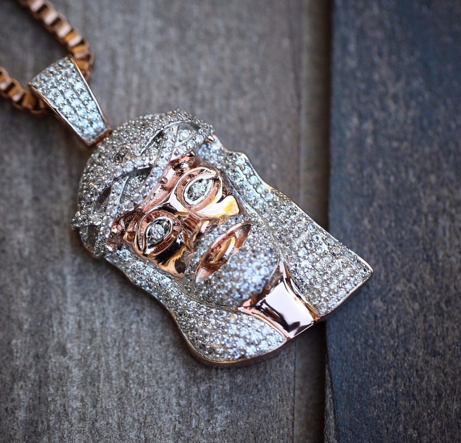 Rose Gold Plated Jesus Piece Pendant And Necklace