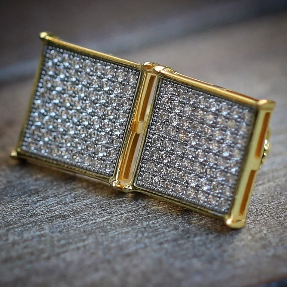 Men's Large Square 14k Gold Sterling Silver Lab Diamond 14mm Stud Earrings