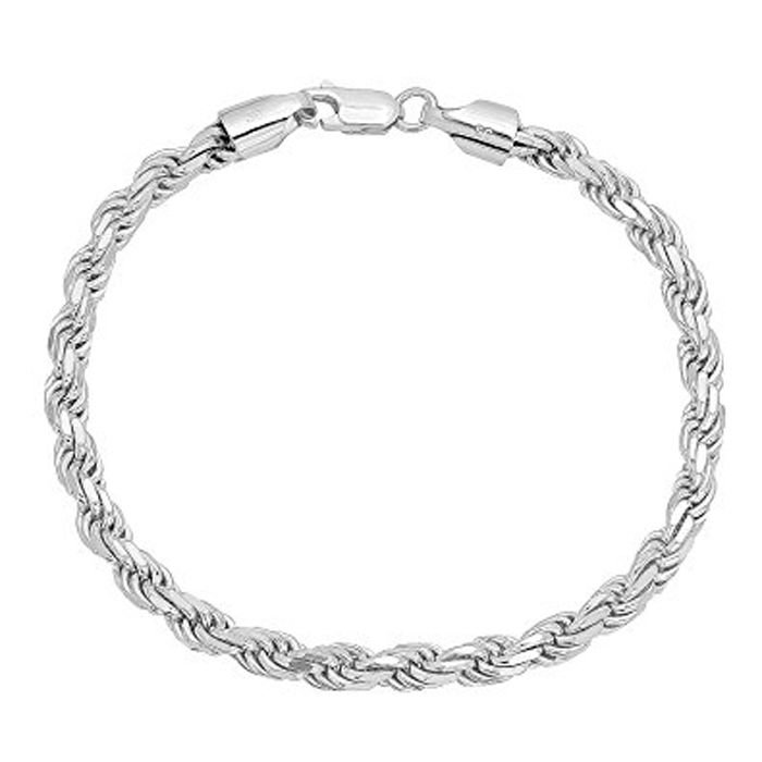 Silver White Gold Plated Braided Men's Rope Chain Bracelet