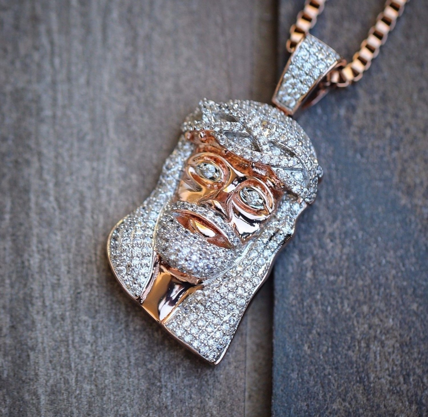 Mini Rose Gold Jesus Piece And Chain Necklace Combo Set