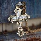 Men's Mini Gold Jesus Piece Cross Pendant Necklace Set