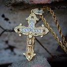 14k Gp Diamond Jesus Cross Charm Necklace
