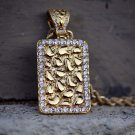 Gold Nugget Style Crocodile Dog Tag With Rope Chain Necklace