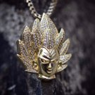 Custom 14k Gold Plated Iced Vegeta Pendant Necklace
