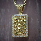 Men's Iced Out Lab Diamond Hip Hop Crocodile Style Nugget Dog Tag Necklace