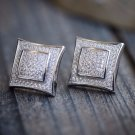 White Hip Hop Square Iced Out Sterling Silver Men's Screw Back Earrings