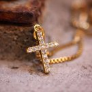 Mini Micro Gold Cross Pendant And Stainless Steel Chain Necklace
