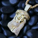 Iced Out Yellow Gold Hip Hop Jesus Piece Pendant Necklace
